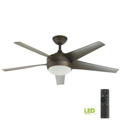 Windward IV 52 in. LED Indoor Oil-Rubbed Bronze Ceiling Fan with Light Kit and Remote Control