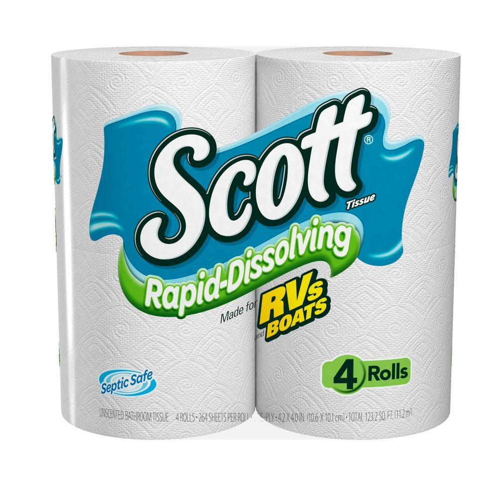 Scott Rapid Dissolve Bath Tissue (4-Pack)-36409 - The Home Depot
