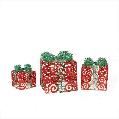 11.25 in. Christmas Outdoor Decorations Lighted Sparkling Red Swirl Glitter Gift Boxes (3-Pack)