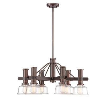 Carson 6-Light Satin Copper Bronze Chandelier with Clear Glass Shades
