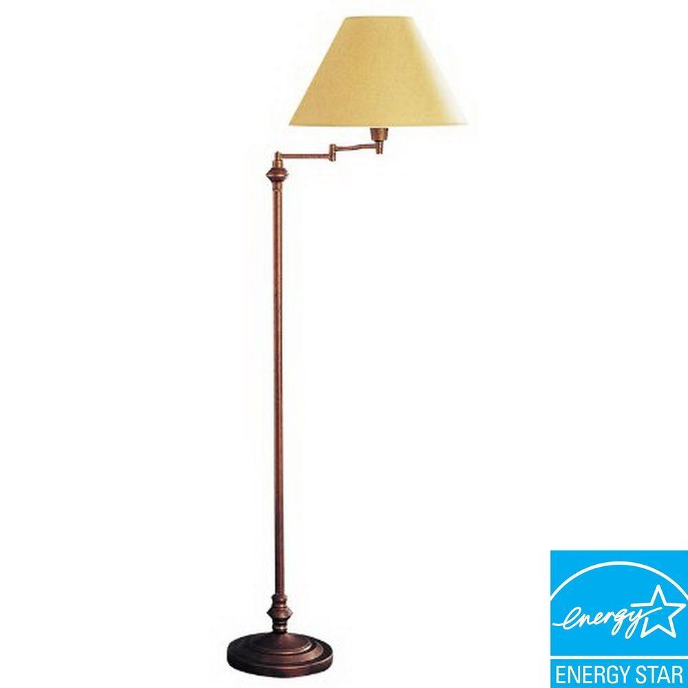 59 in Rust Swing Arm Metal Floor Lamp