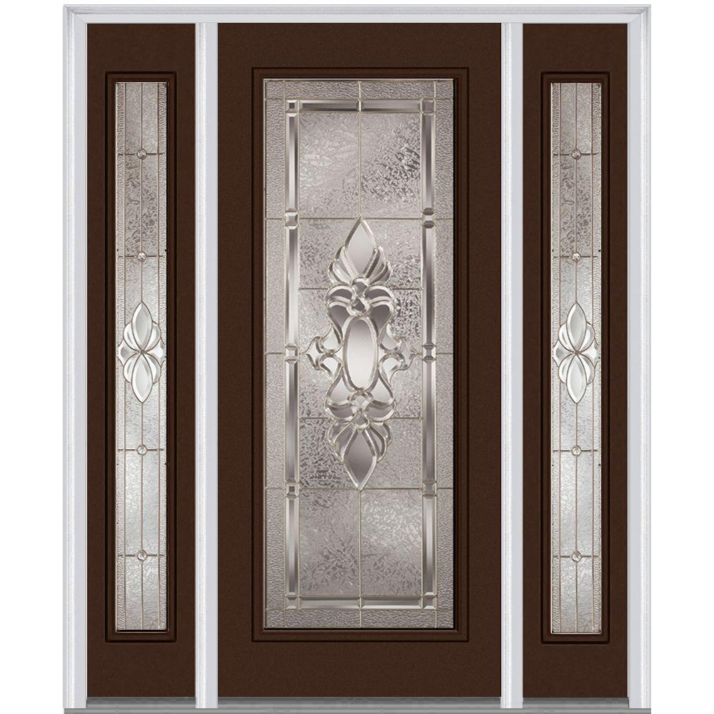 Milliken Millwork 64 in. x 80 in. Heirloom Master Deco Glass Full Lite Painted Builder's Choice Steel Prehung Front Door with Sidelites