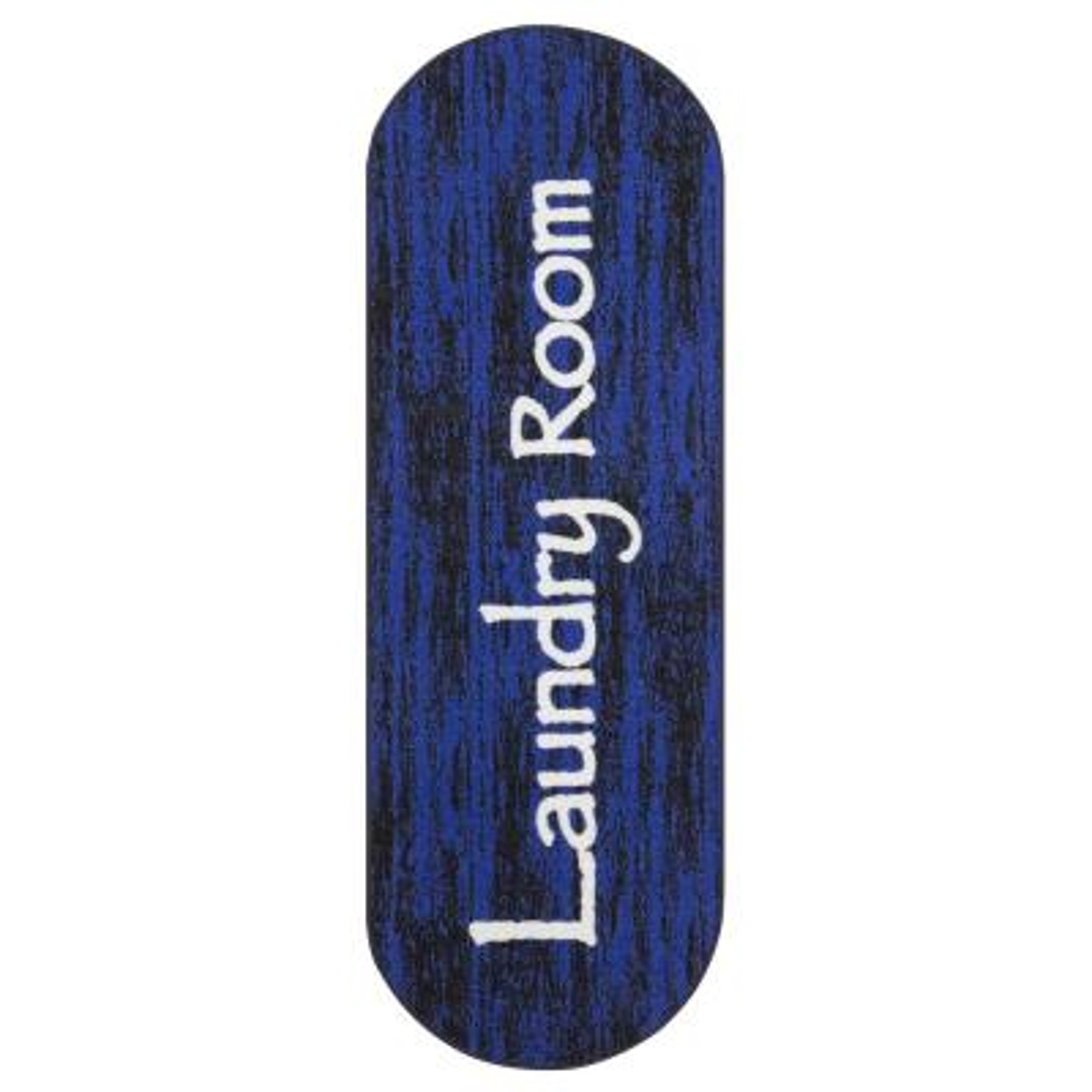 Laundry Collection Modern Design Dark Blue 1 ft. 8 in. x 4 ft. 11 in. Runner Rug