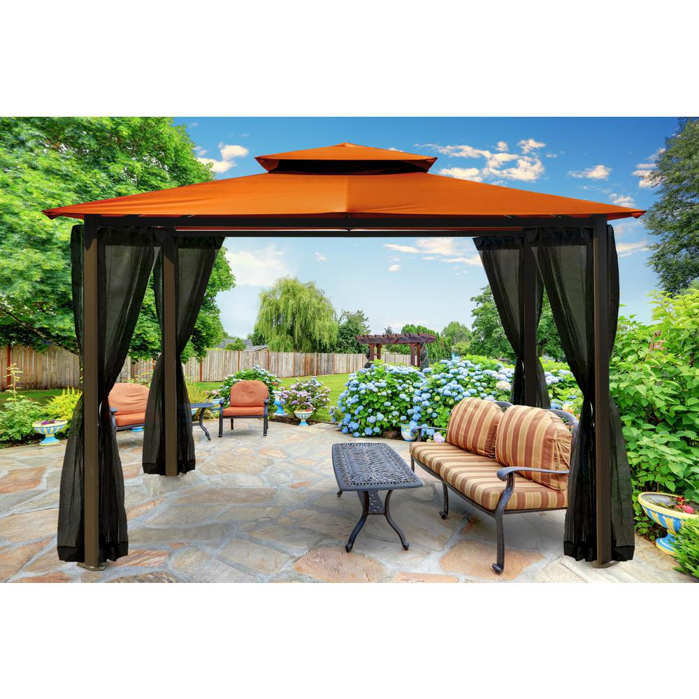 Paragon gazebo 10 75 ft x 12 ft with rust roof and mosquito netting