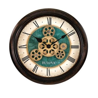 Traditional 12.8 in. Wall Clock with Black Metal Case and Independent Gears