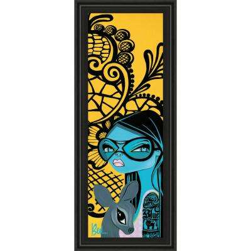 "18 in. x 42 in. ""Ink Chiffon II"" by Bev Hogue Framed Printed Wall Art"