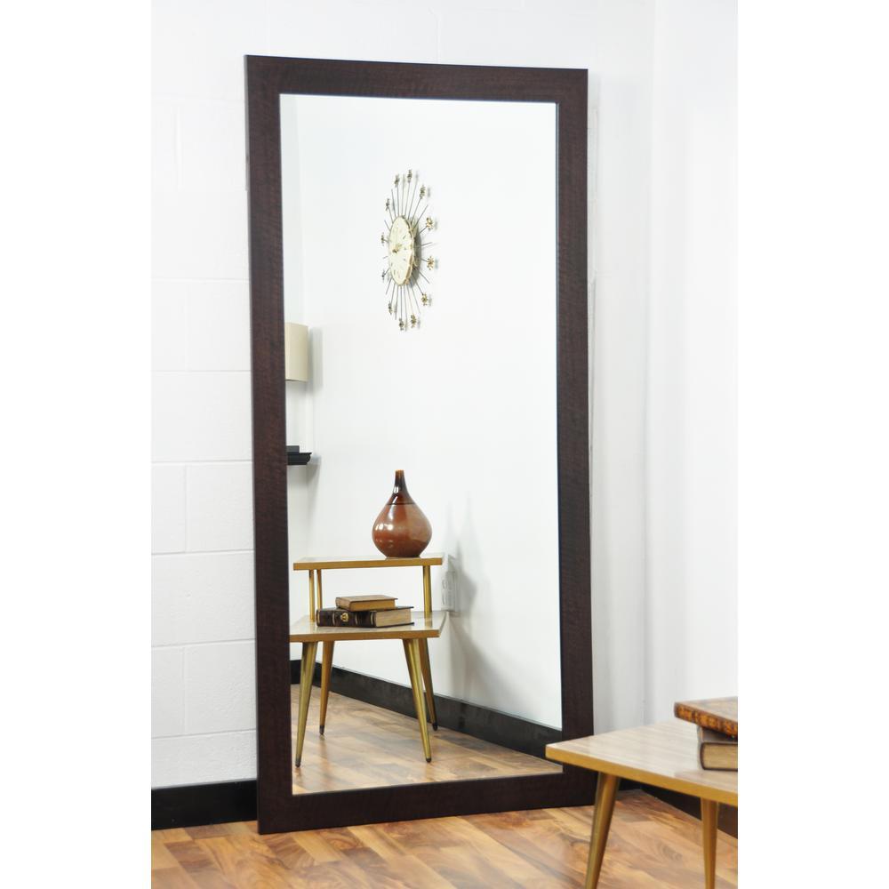 Modern Rustic Walnut Tall Framed Mirror