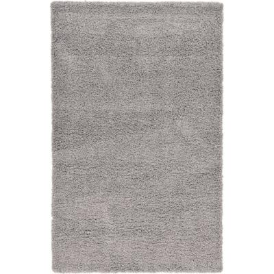 Solid Shag Cloud Gray 5 ft. x 8 ft. Area Rug