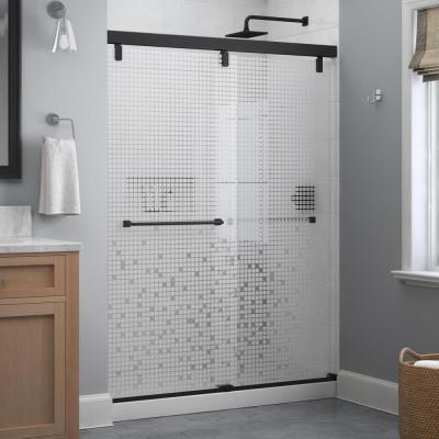 Everly 60 in. x 71-1/2 in. Frameless Mod Soft-Close Sliding Shower Door in Matte Black with 1/4 in. (6 mm) Mozaic Glass