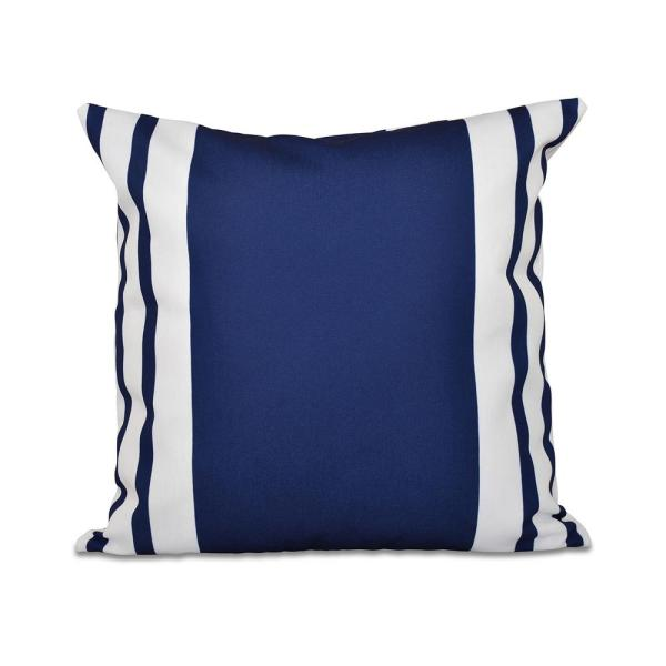undefined Big and Bold Navy Blue Striped 16 in. x 16 in. Throw Pillow