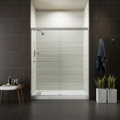 Revel 59-5/8 in. W x 70 in. H Frameless Sliding Shower Door in Bright Polished Silver with Handle