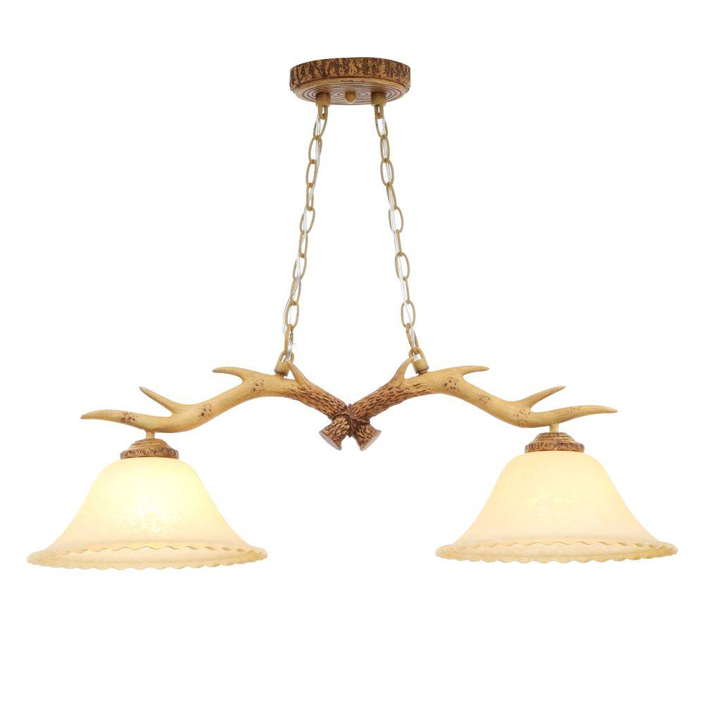 2 Light Natural Antler Island Chandelier With Sunset Glass Shades