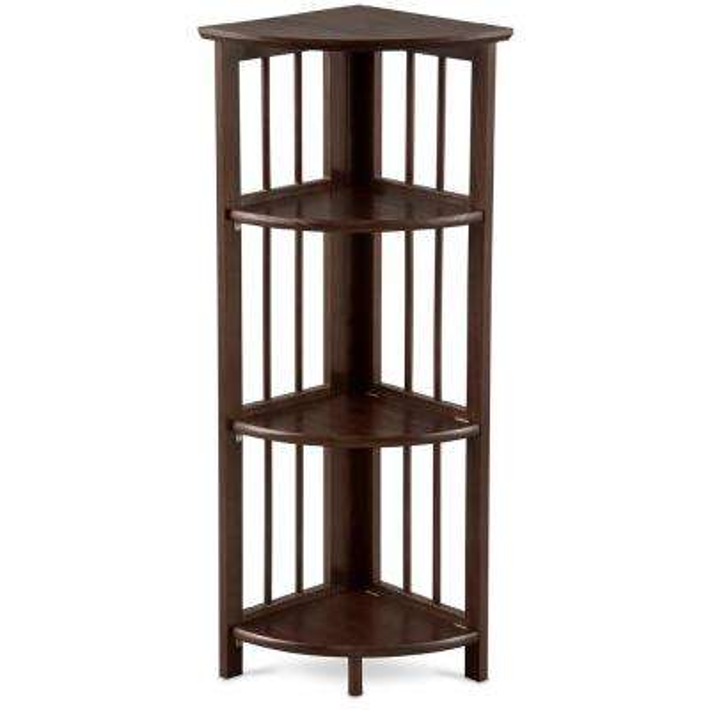 Truffle Brown 4-Shelf Corner Folding Bookcase