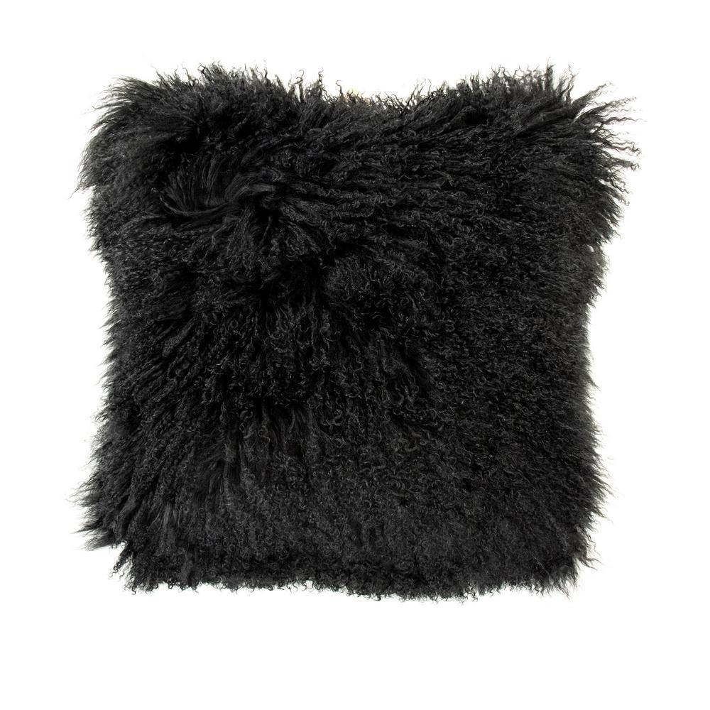zentique Tibetan Black Lamb Fur Pouf was $585.0 now $387.0 (34.0% off)