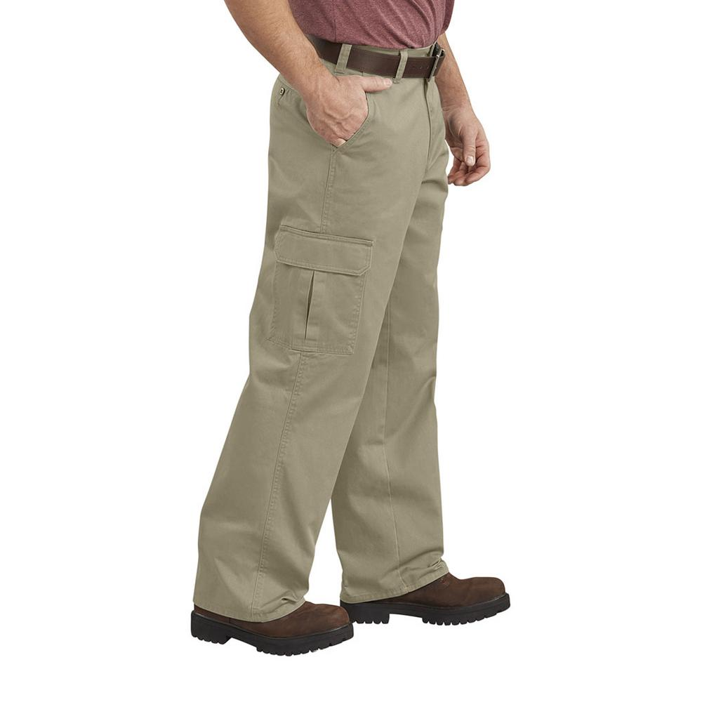d9377494faa Dickies Men's 36 in. x 34 in. Khaki Loose Fit Straight Leg Cargo Pant