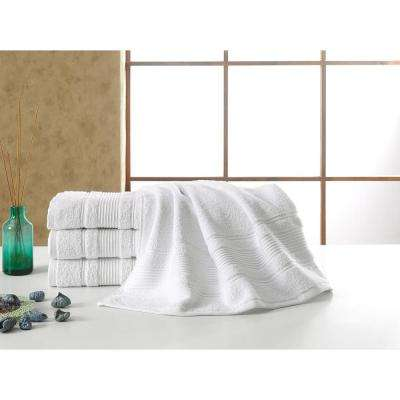 Solomon Collection 27 in. W x 52 in. H 100% Turkish Cotton Bordered Design Luxury Bath Towel in White (Set of 4)