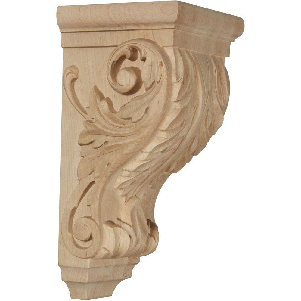 Ekena Millwork 5 in. x 5 in. x 10 in. Unfinished Wood Maple Medium Acanthus Wood Corbel