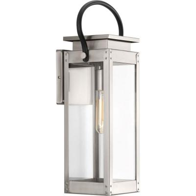 Union Square Collection 1-Light Stainless Steel 19.4 in. Outdoor Wall Lantern Sconce