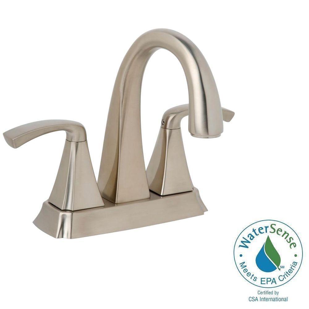 Bramwell 4 in. Centerset 2-Handle Mid-Arc Bathroom Faucet in Satin Nickel
