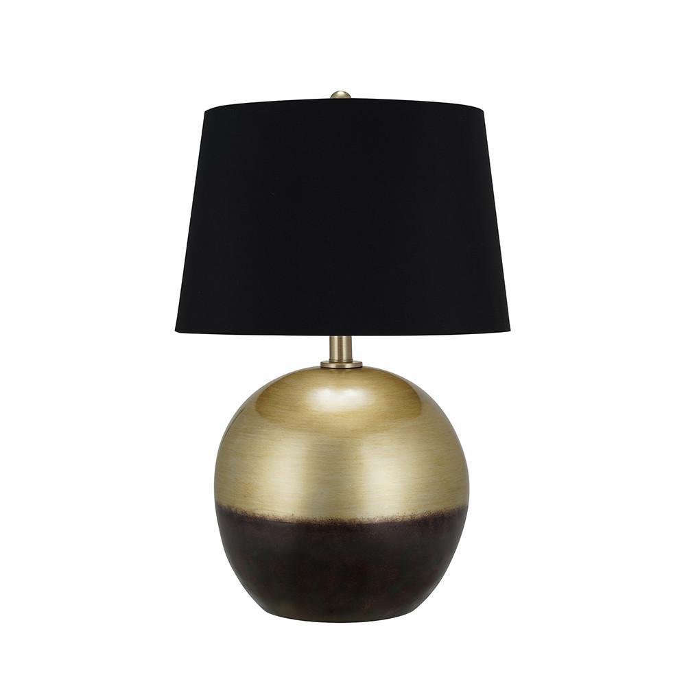 Cresswell Lighting 28 in. Brass/Black Mid-Century Table Lamp