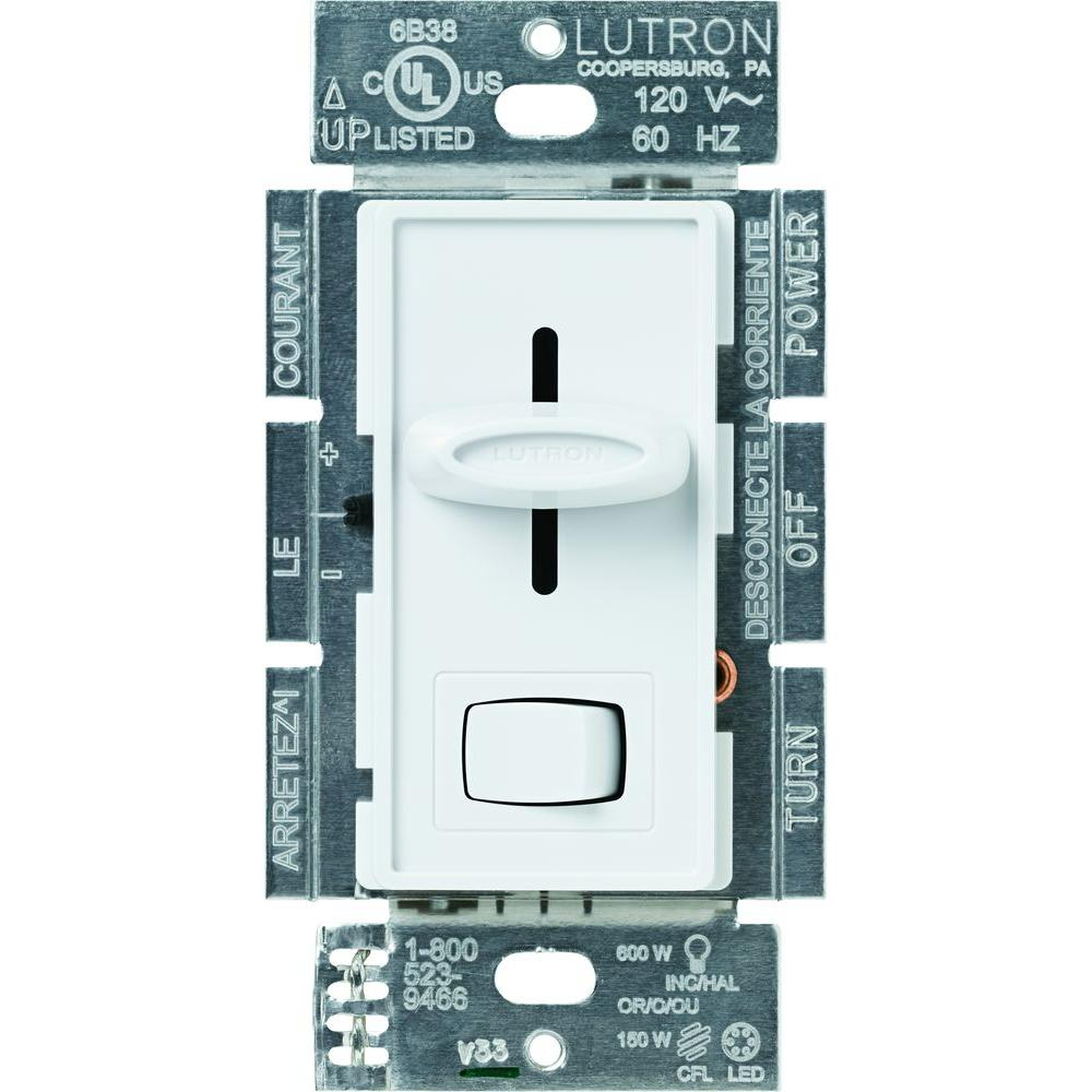Lutron Wiring Devices Light Controls Electrical The Home Depot Led Bar Harness With Remote Including Simple Circuit Skylark Cl Dimmer Switch For Dimmable Halogen And Incandescent Bulbs