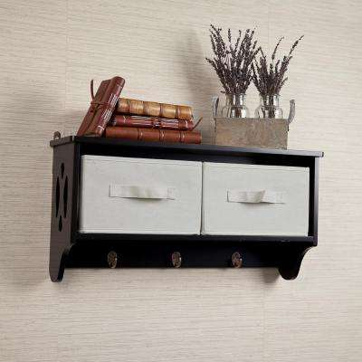 Contempo 24.5 in. W x 12.25 in. H Espresso MDF Entryway Storage Wall Shelf with Canvas Bins and Hooks