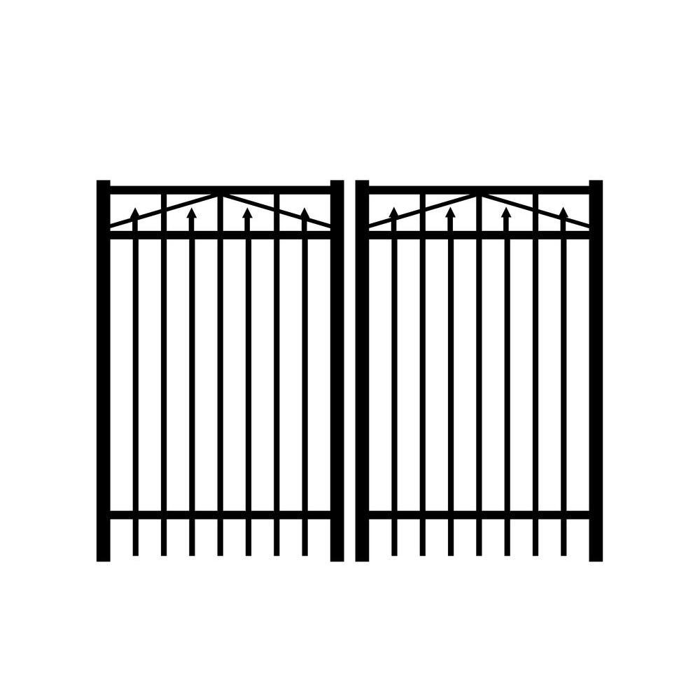 Jerith Adams 6 ft. W x 4 ft. H Black Aluminum Double Drive Gate
