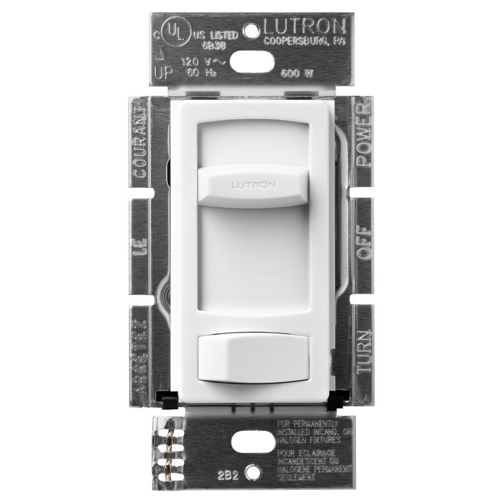White Lutron CT-600PR-WH Skylark Contour 600W Single Pole Preset Dimmer