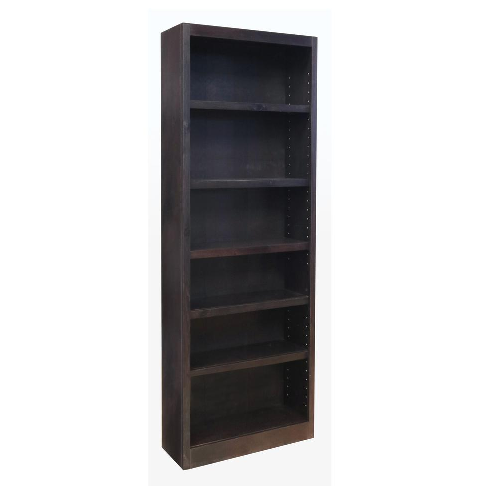 ConceptsInWood Concepts In Wood Midas Wood Bookcase, 6 Shelves, 84 in. H, Espresso Finish, Brown