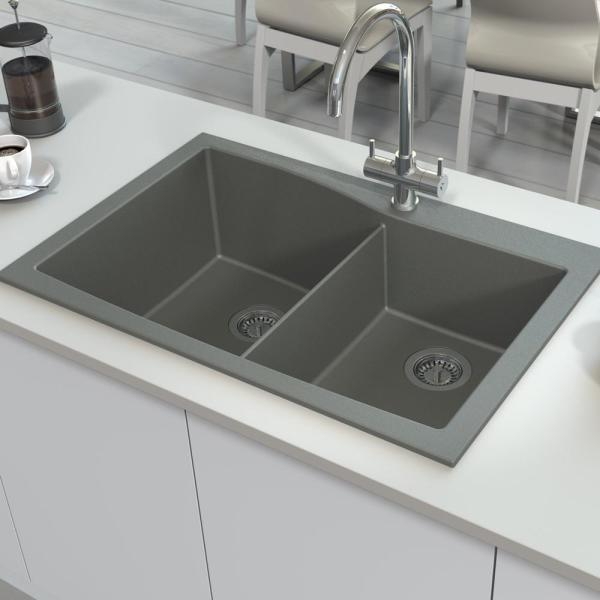 Transolid Genova Dual Mount Granite 33 In 1 Hole Double Offset Bowl Kitchen Sink In Grey Gtdw3322 17 1 The Home Depot