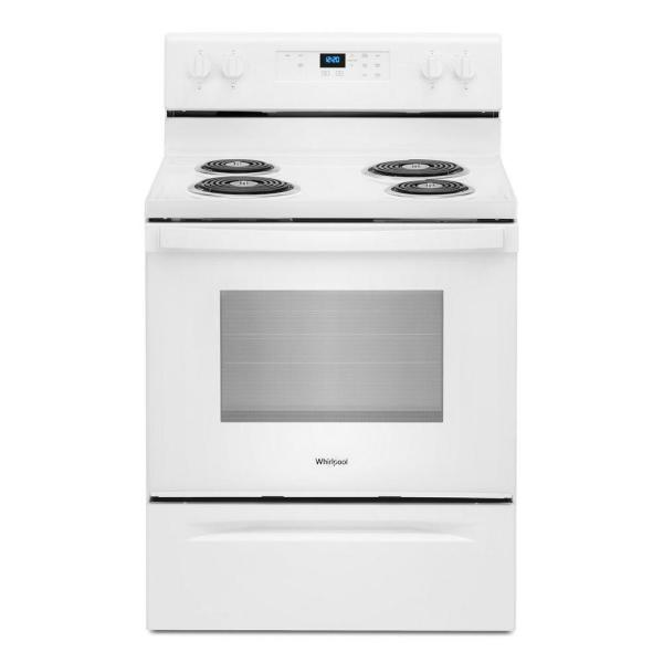 30 in. 4.8 cu. ft. 4-Burner Electric Range with Keep Warm Setting in White with Storage Drawer