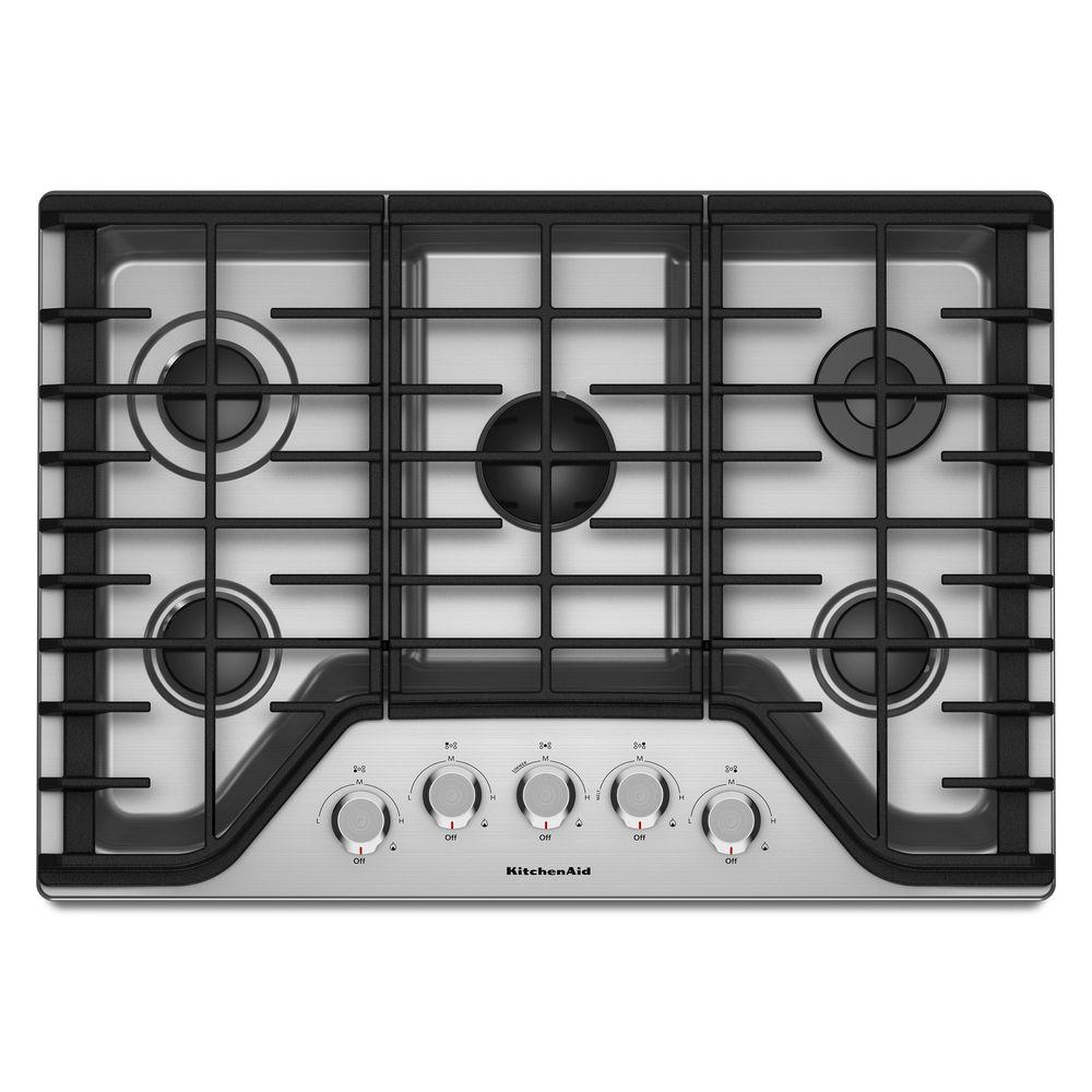 Strange Kitchenaid 30 In Gas Cooktop In Stainless Steel With 5 Burners Including A Multi Flame Dual Tier Burner And A Simmer Burner Interior Design Ideas Tzicisoteloinfo