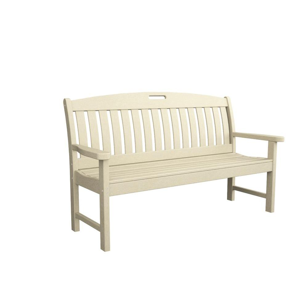 Nautical 60 in. Sand Plastic Outdoor Patio Bench
