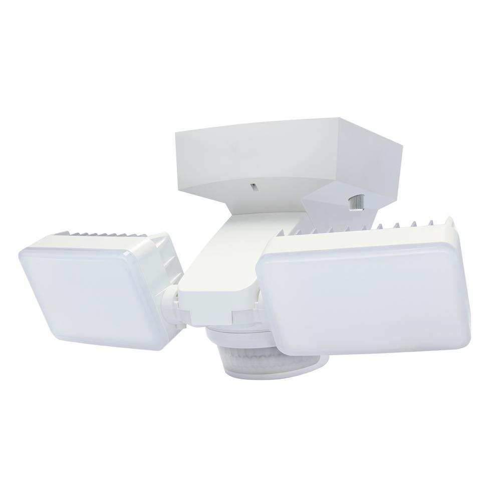 180-Degree White Motion Activated Outdoor Integrated LED Twin Flood Lights with