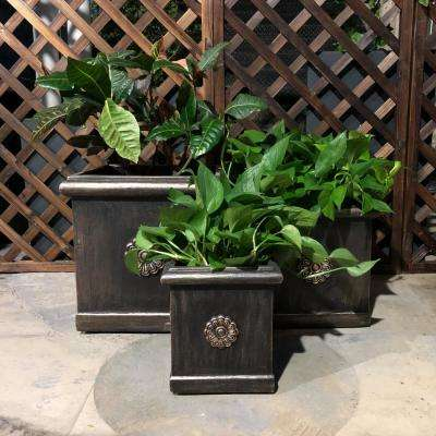 Lightweight Bronze Concrete Chrysantemum Square  Planter (3-Set)