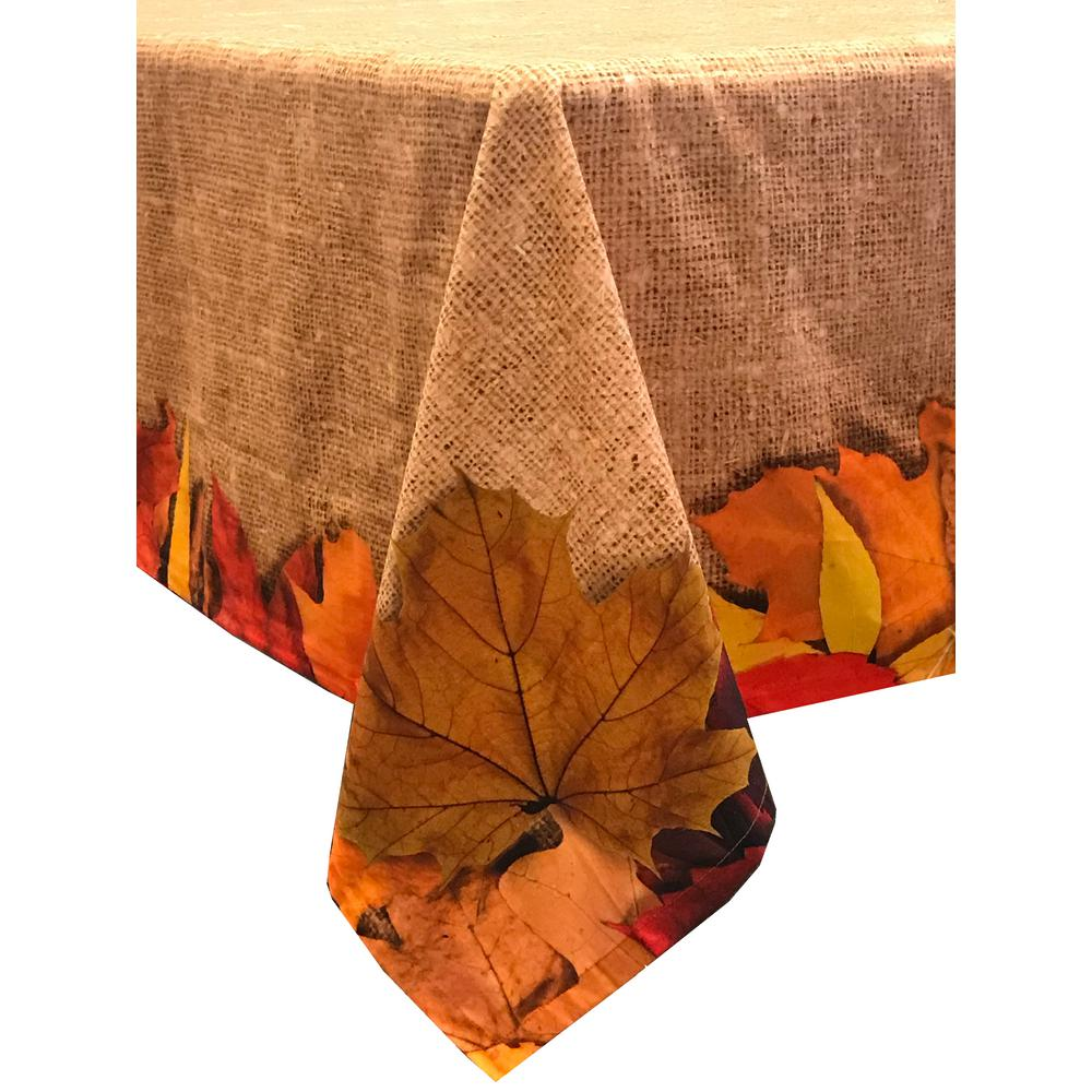 Lintex Autumn Leaves 70 In. Round Light Brown 100% Cotton Tablecloth