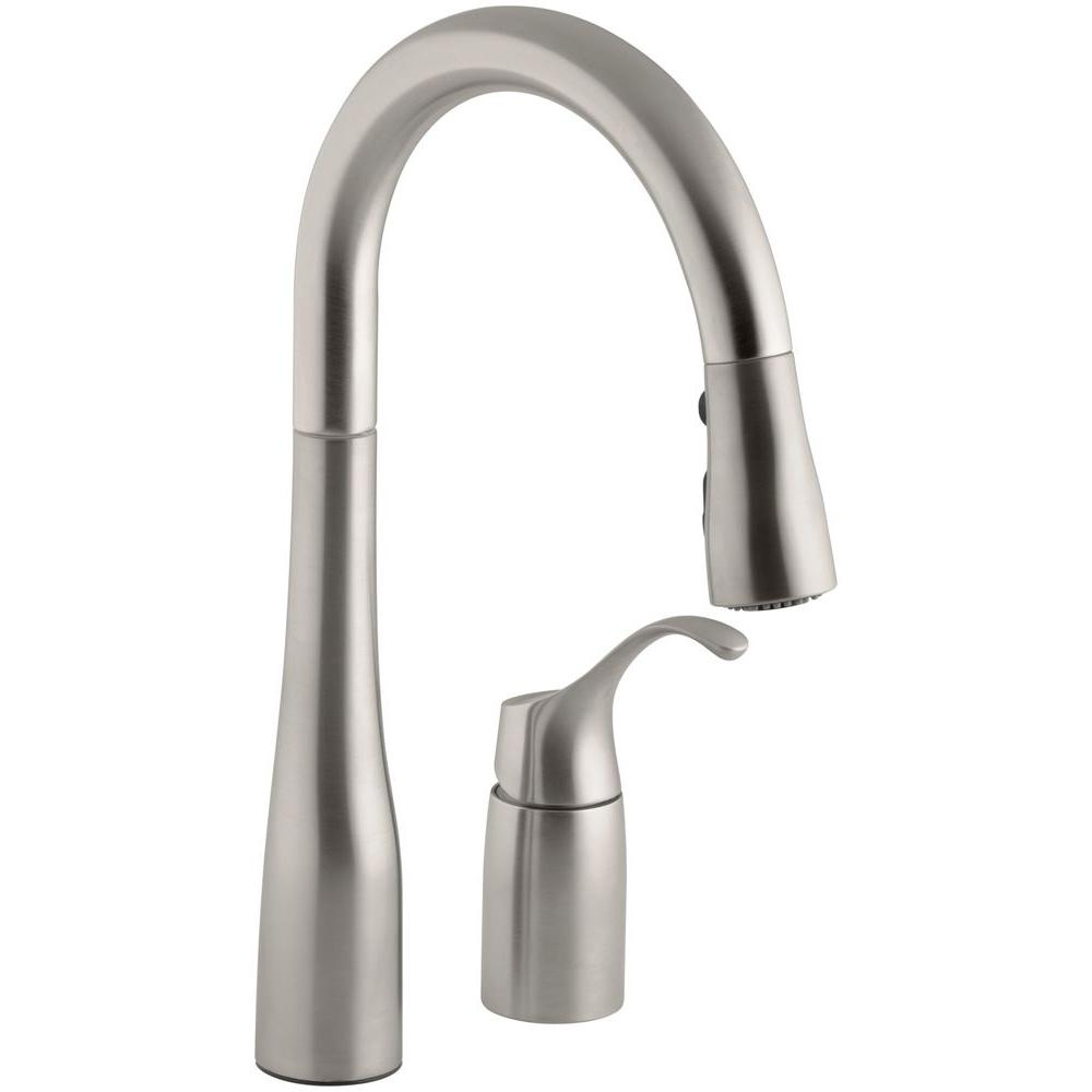 kohler simplice kitchen faucet polished chrome kohler simplice singlehandle pulldown sprayer kitchen faucet in vibrant stainless