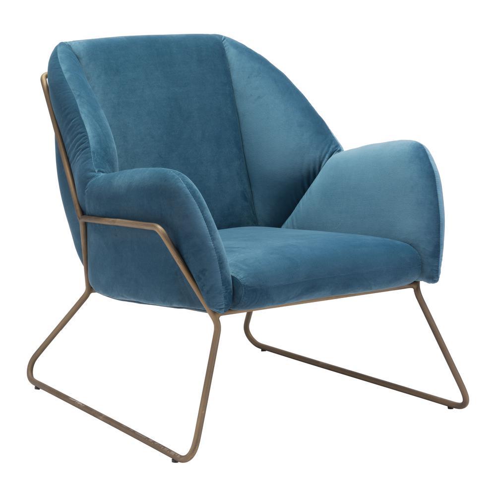 Stanza Blue Velvet Arm Chair