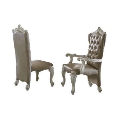 Beige Faux Leather Upholstered Wooden Side Chair with Scrolled Carvings (Set of 2)
