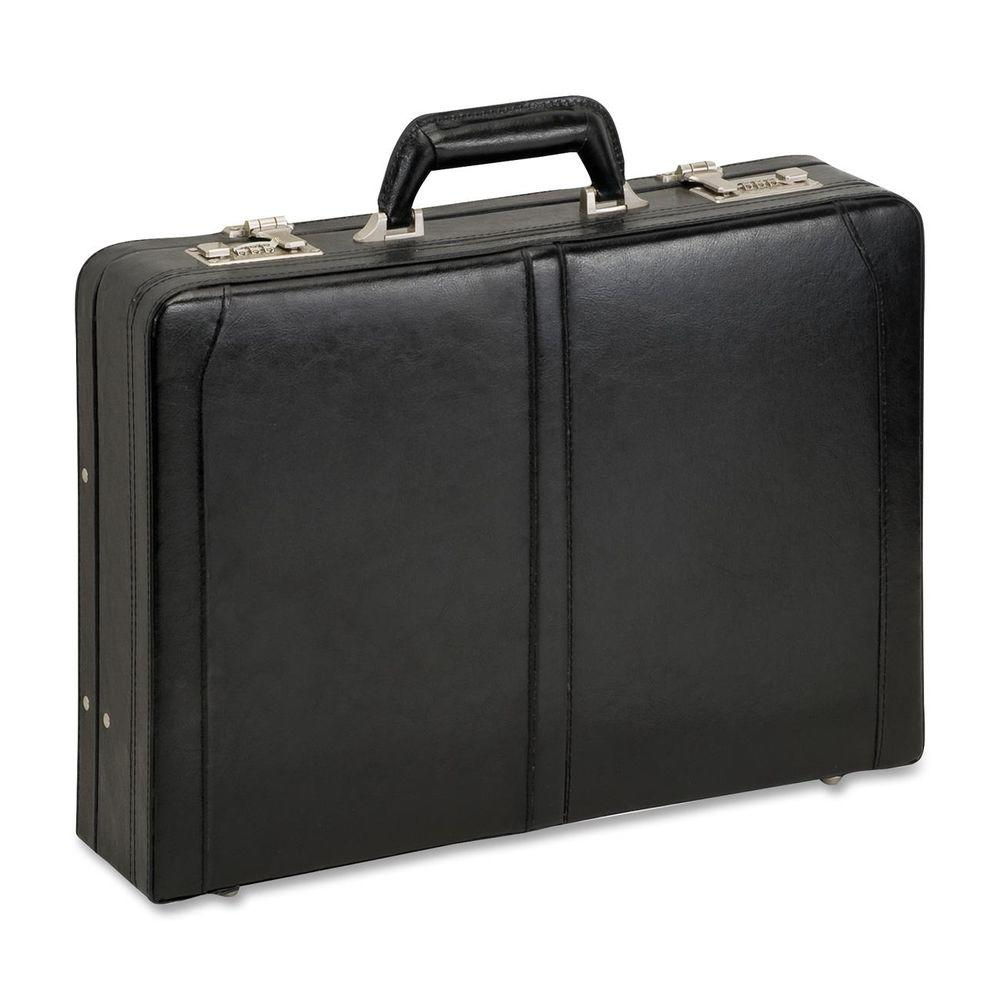 16 in. Classic Black Leather Notebook Attache with Handle
