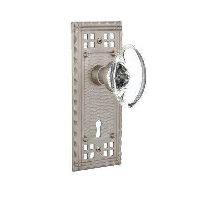 Craftsman Plate with Keyhole Single Dummy Oval Clear Crystal Glass Door Knob in Satin Nickel