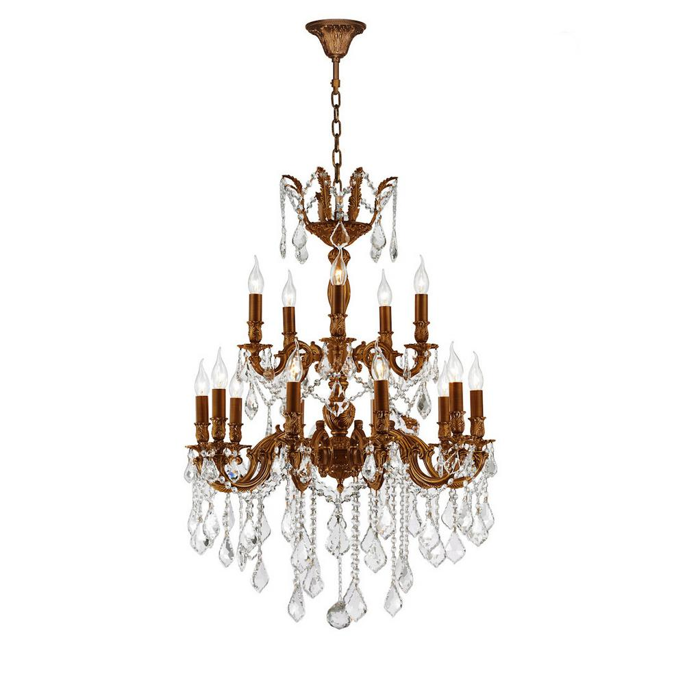 Worldwide lighting versailles 18 light french gold chandelier with worldwide lighting versailles 18 light french gold chandelier with clear crystal arubaitofo Gallery