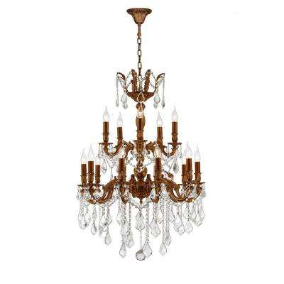 Versailles 18 Light French Gold Chandelier With Clear Crystal