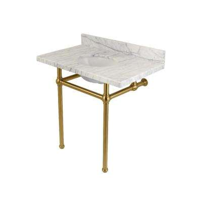 Washstand 36 in. Console Table in Carrara Marble White with Metal Legs in Satin Brass