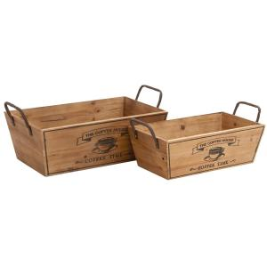 Farmhouse Natural Brown Decorative Wine Trays (Set of 2)