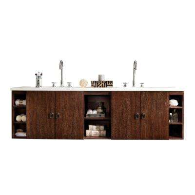 Sonoma 72 in. W Double Vanity in Coffee Oak with Solid Surface Vanity Top in Arctic Fall with White Basin