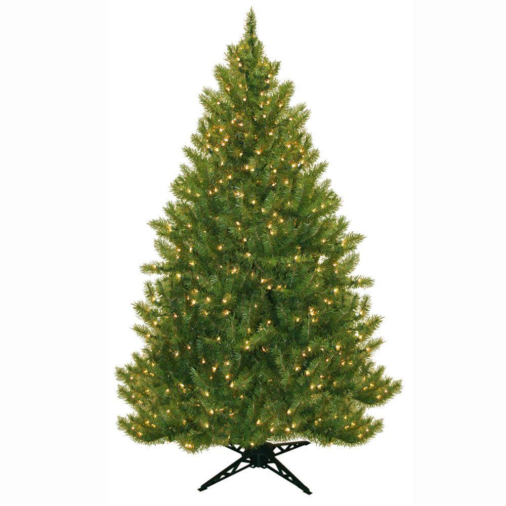 General Foam 6.5 ft. Pre-Lit Carolina Fir Artificial Christmas ...