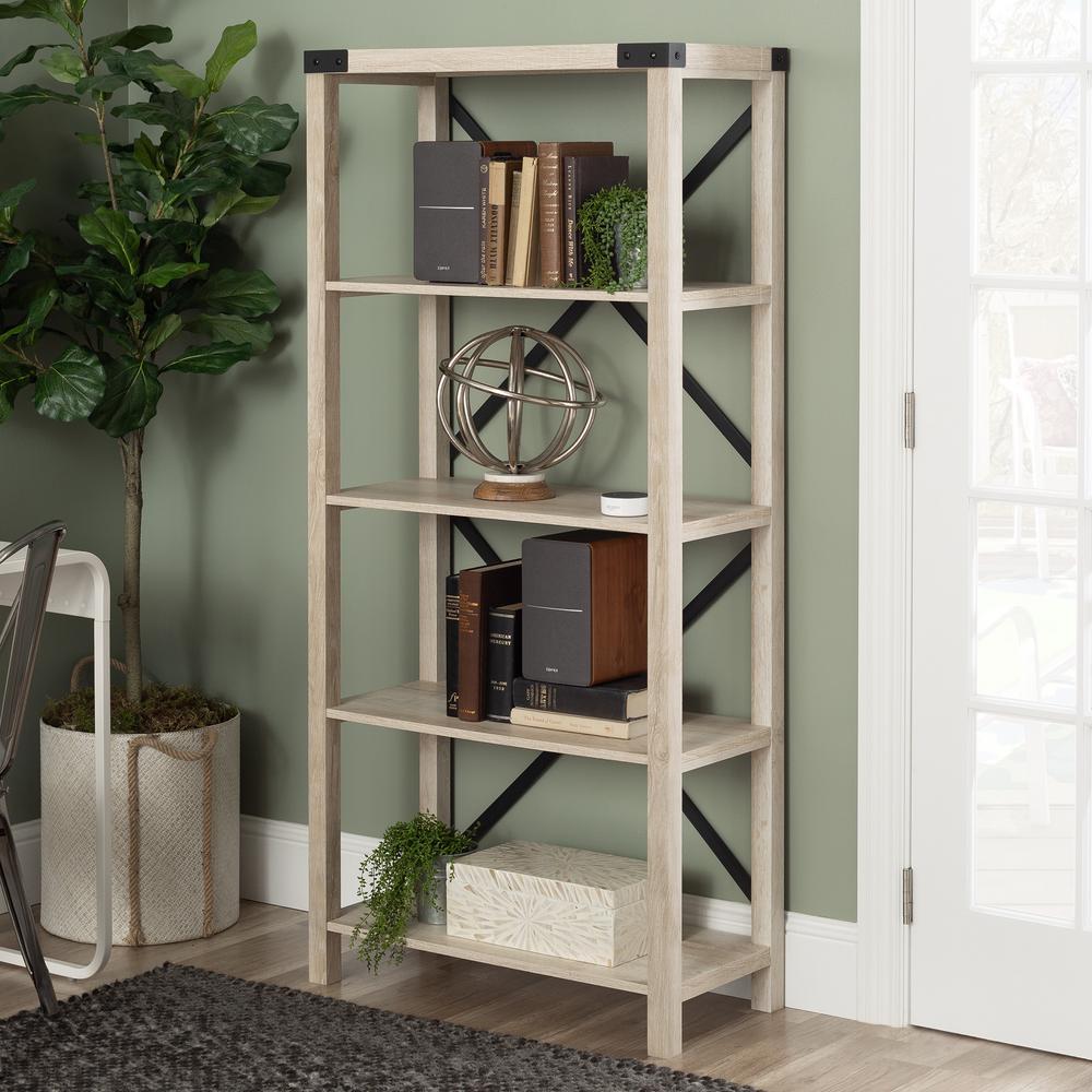64 in. White Oak Wood 4-shelf Etagere Bookcase with Open Back