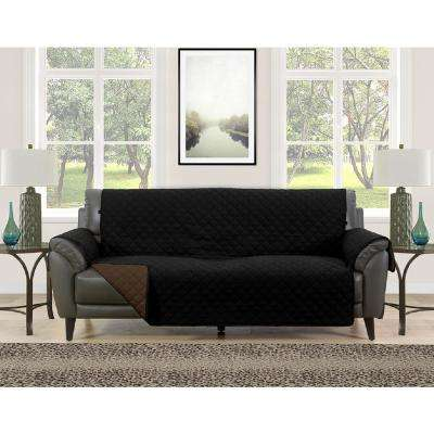 Ordinaire Barrett Black/Brown Microfiber Reversible Couch Protector