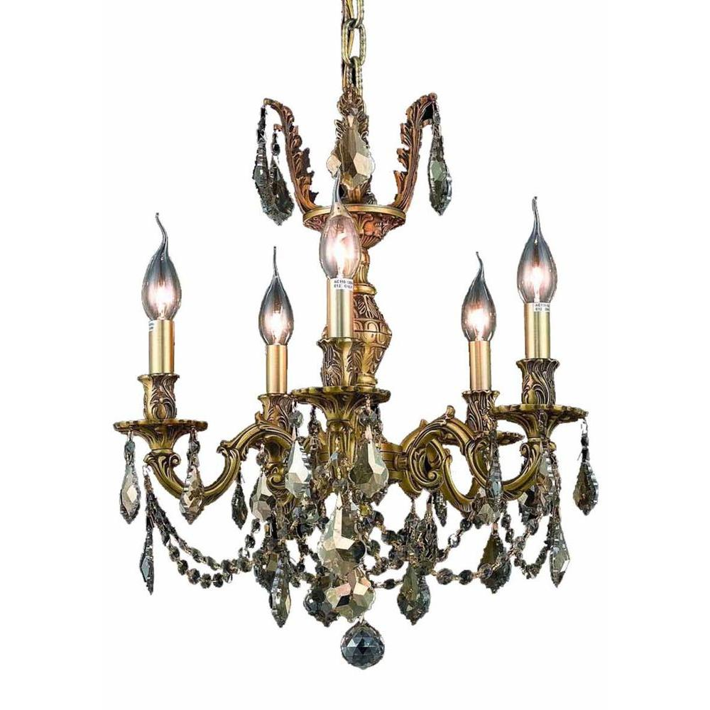 Elegant Lighting 5-Light French Gold Chandelier with Golden Teak Smoky Crystal